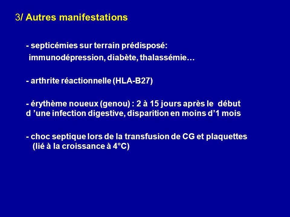 3/ Autres manifestations - septicémies sur terrain prédisposé: immunodépression, diabète, thalassémie… - arthrite réactionnelle (HLA-B27) - érythème n