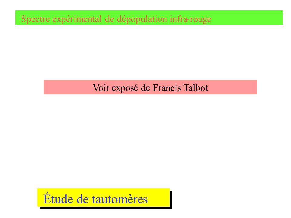 Spectre expérimental de dépopulation infra-rouge Étude de tautomères Voir exposé de Francis Talbot