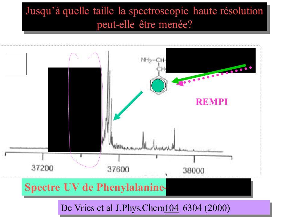 Spectre UV de Phenylalanine-Glycine-Glycine De Vries et al J.Phys.Chem104 6304 (2000) REMPI Jusquà quelle taille la spectroscopie haute résolution peu