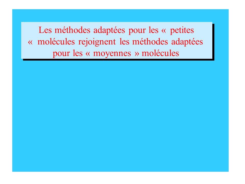 Les méthodes adaptées pour les «petites «molécules rejoignent les méthodes adaptées pour les «moyennes» molécules Les méthodes adaptées pour les «peti