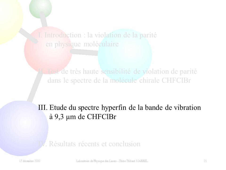 15 décembre 2000 Laboratoire de Physique des Lasers - Thèse Thibaut MARREL 21 I. Introduction : la violation de la parité en physique moléculaire II.