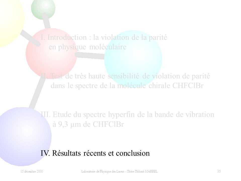 15 décembre 2000 Laboratoire de Physique des Lasers - Thèse Thibaut MARREL 35 I. Introduction : la violation de la parité en physique moléculaire II.