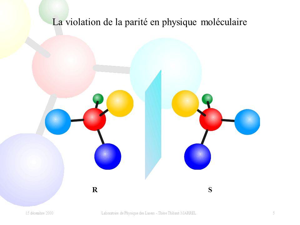 15 décembre 2000 Laboratoire de Physique des Lasers - Thèse Thibaut MARREL 5 La violation de la parité en physique moléculaire RS