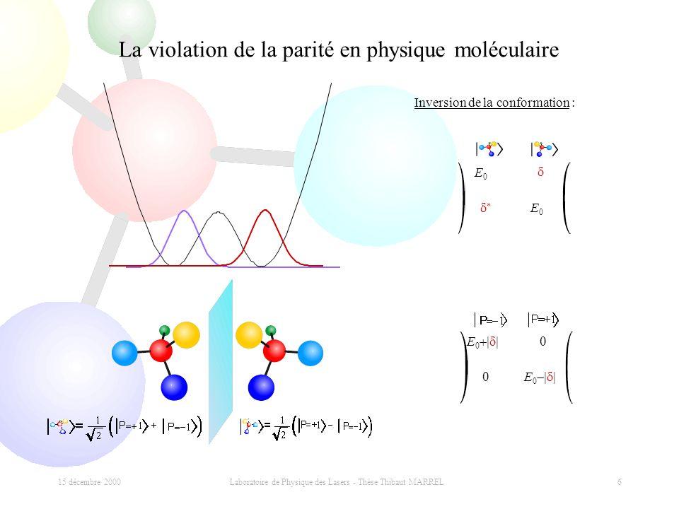 15 décembre 2000 Laboratoire de Physique des Lasers - Thèse Thibaut MARREL 6 La violation de la parité en physique moléculaire E0E0 E0E0 E 0 Inversion