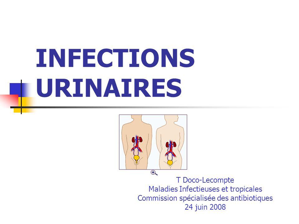 Traitement des cystites aiguës (petite fille > 3 ans) Cotrimoxazole (> 1mois) : sulfaméthoxazole : 30 mg/kg/j + triméthoprime, 6 mg/kg/j en 2 prises Ou Céfixime (> 3 ans) : 8 mg/kg/j en 2 prises notamment en cas de résistance ou dintolérance ou de CI au cotrimoxazole Durée : 3-5 jours ECBU de contrôle inutile