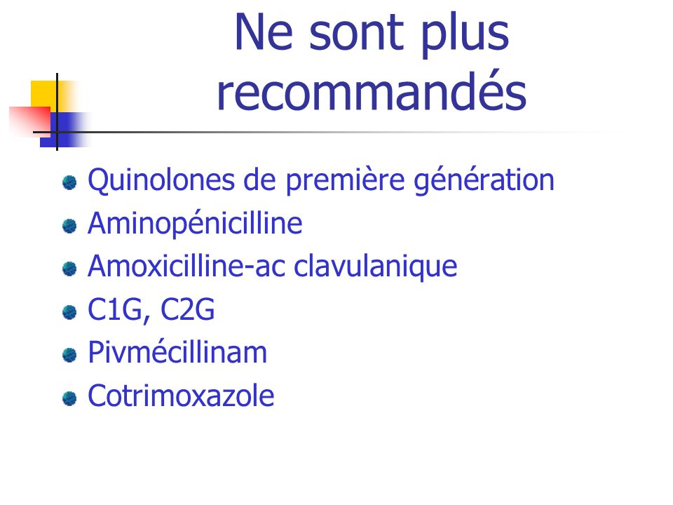 Ne sont plus recommandés Quinolones de première génération Aminopénicilline Amoxicilline-ac clavulanique C1G, C2G Pivmécillinam Cotrimoxazole