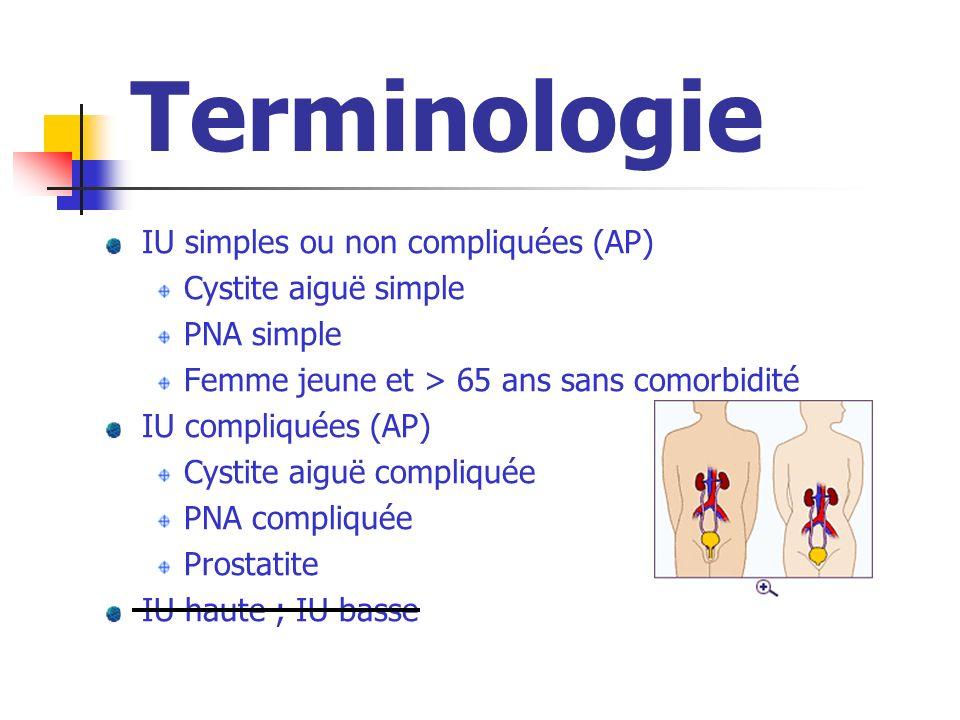 Terminologie IU simples ou non compliquées (AP) Cystite aiguë simple PNA simple Femme jeune et > 65 ans sans comorbidité IU compliquées (AP) Cystite a