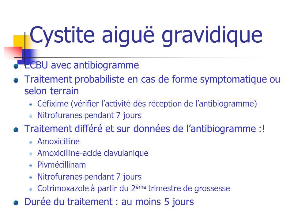 Cystite aiguë gravidique ECBU avec antibiogramme Traitement probabiliste en cas de forme symptomatique ou selon terrain Céfixime (vérifier lactivité d