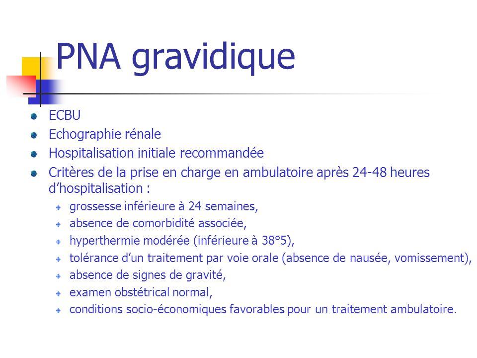 PNA gravidique ECBU Echographie rénale Hospitalisation initiale recommandée Critères de la prise en charge en ambulatoire après 24-48 heures dhospital