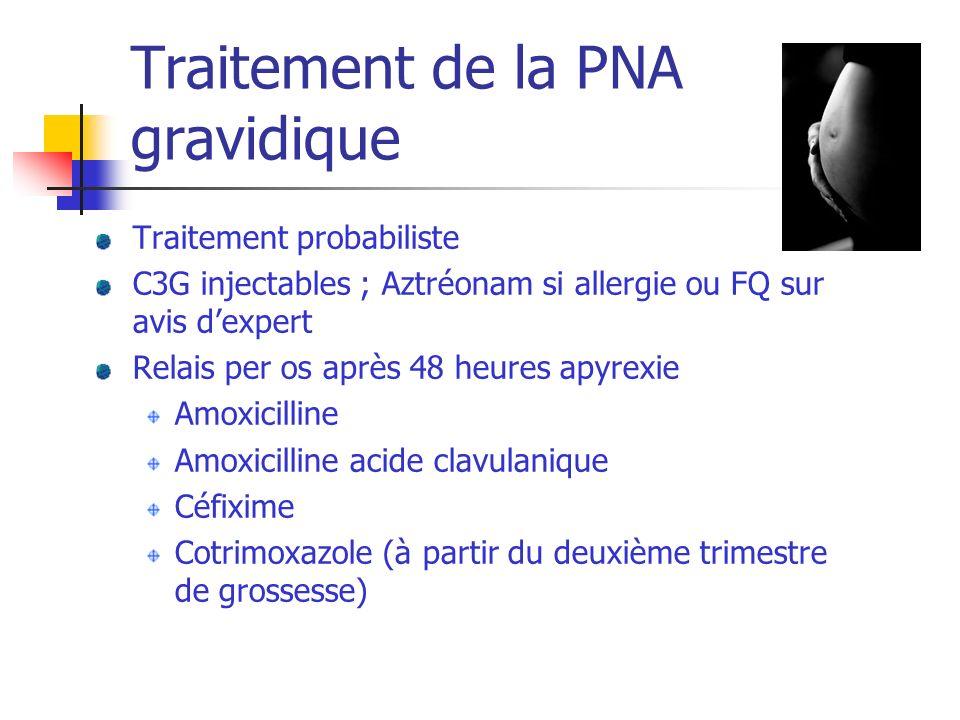 Traitement de la PNA gravidique Traitement probabiliste C3G injectables ; Aztréonam si allergie ou FQ sur avis dexpert Relais per os après 48 heures a