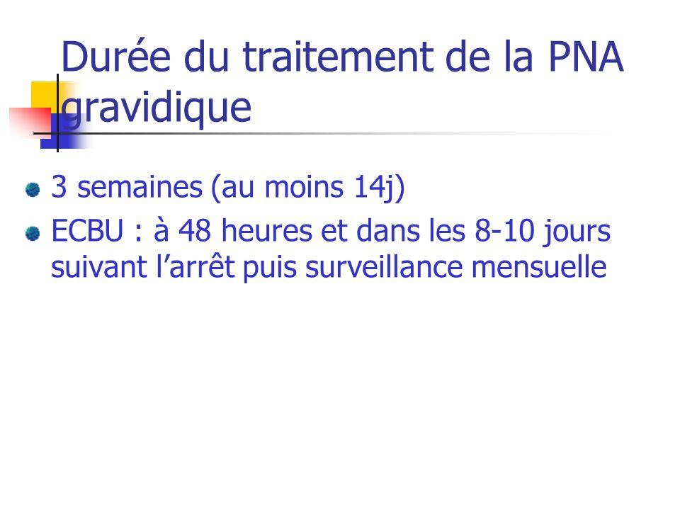 Durée du traitement de la PNA gravidique 3 semaines (au moins 14j) ECBU : à 48 heures et dans les 8-10 jours suivant larrêt puis surveillance mensuell