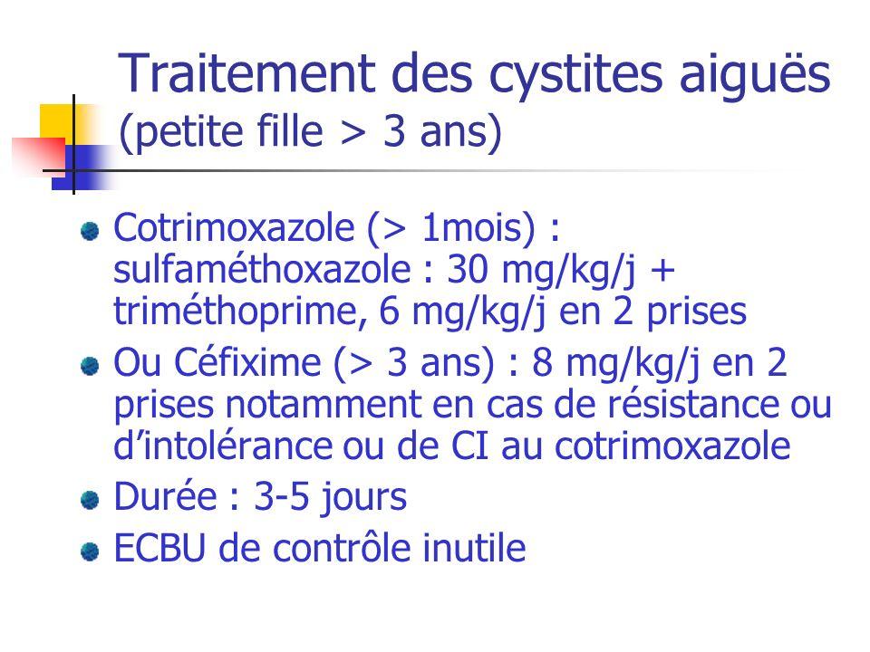 Traitement des cystites aiguës (petite fille > 3 ans) Cotrimoxazole (> 1mois) : sulfaméthoxazole : 30 mg/kg/j + triméthoprime, 6 mg/kg/j en 2 prises O
