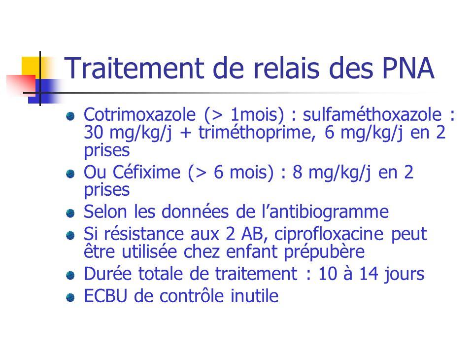Traitement de relais des PNA Cotrimoxazole (> 1mois) : sulfaméthoxazole : 30 mg/kg/j + triméthoprime, 6 mg/kg/j en 2 prises Ou Céfixime (> 6 mois) : 8