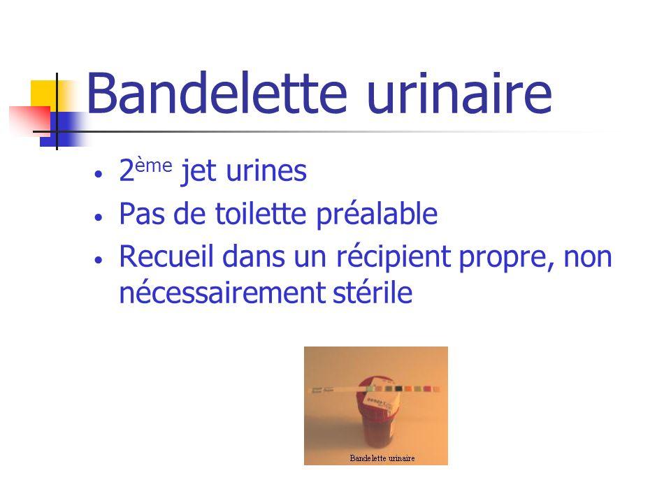 Bandelette urinaire 2 ème jet urines Pas de toilette préalable Recueil dans un récipient propre, non nécessairement stérile