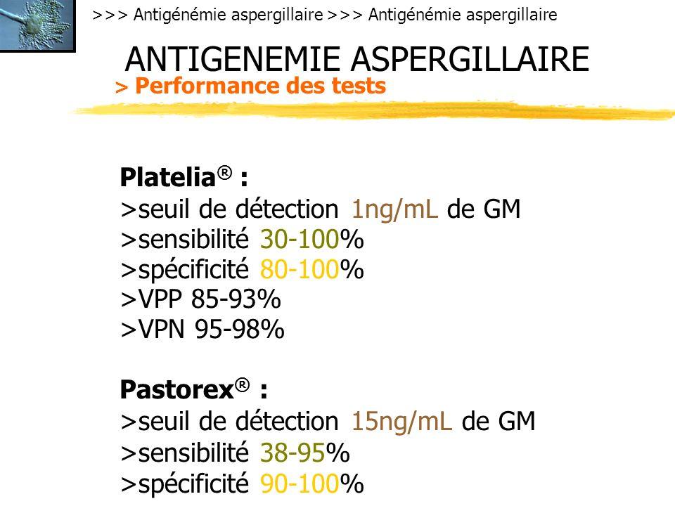 >>> Antigénémie aspergillaire ANTIGENEMIE ASPERGILLAIRE > Performance des tests Platelia ® : >seuil de détection 1ng/mL de GM >sensibilité 30-100% >spécificité 80-100% >VPP 85-93% >VPN 95-98% Pastorex ® : >seuil de détection 15ng/mL de GM >sensibilité 38-95% >spécificité 90-100%