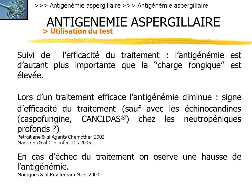 >>> Antigénémie aspergillaire ANTIGENEMIE ASPERGILLAIRE > Utilisation du test Suivi de lefficacité du traitement : lantigénémie est dautant plus importante que la charge fongique est élevée.