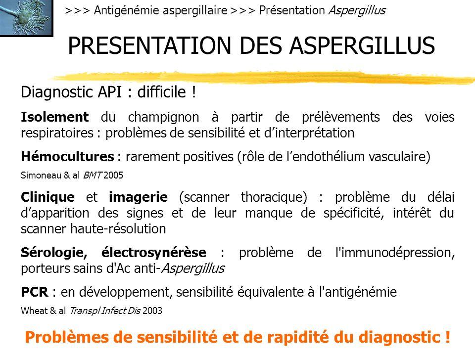 >>> Antigénémie aspergillaire >>> Présentation Aspergillus PRESENTATION DES ASPERGILLUS Diagnostic API : difficile ! Isolement du champignon à partir