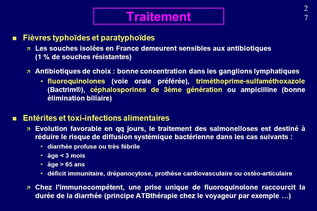 2727 n Fièvres typhoïdes et paratyphoïdes Les souches isolées en France demeurent sensibles aux antibiotiques (1 % de souches résistantes) Antibiotiques de choix : bonne concentration dans les ganglions lymphatiques fluoroquinolones (voie orale préférée), triméthoprime-sulfaméthoxazole (Bactrim®), céphalosporines de 3ème génération ou ampicilline (bonne élimination biliaire) n Entérites et toxi-infections alimentaires Evolution favorable en qq jours, le traitement des salmonelloses est destiné à réduire le risque de diffusion systémique bactérienne dans les cas suivants : diarrhée profuse ou très fébrile âge < 3 mois âge > 65 ans déficit immunitaire, drépanocytose, prothèse cardiovasculaire ou ostéo-articulaire Chez l immunocompétent, une prise unique de fluoroquinolone raccourcit la durée de la diarrhée (principe ATBthérapie chez le voyageur par exemple …) Traitement
