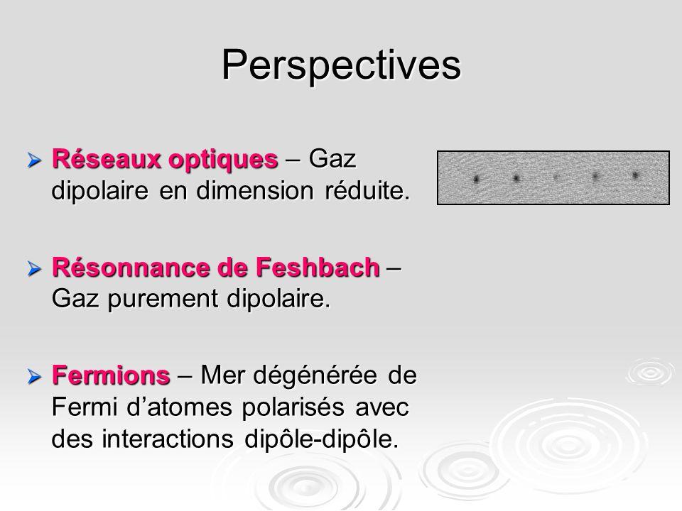 Perspectives Réseaux optiques – Gaz dipolaire en dimension réduite. Réseaux optiques – Gaz dipolaire en dimension réduite. Résonnance de Feshbach – Ga