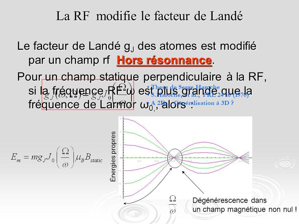 La RF modifie le facteur de Landé Le facteur de Landé g J des atomes est modifié par un champ rf Hors résonnance. Pour un champ statique perpendiculai