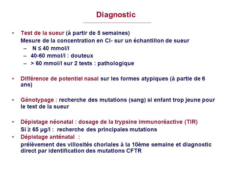 Diagnostic Test de la sueur (à partir de 5 semaines) Mesure de la concentration en Cl- sur un échantillon de sueur – N 40 mmol/l –40-60 mmol/l : doute