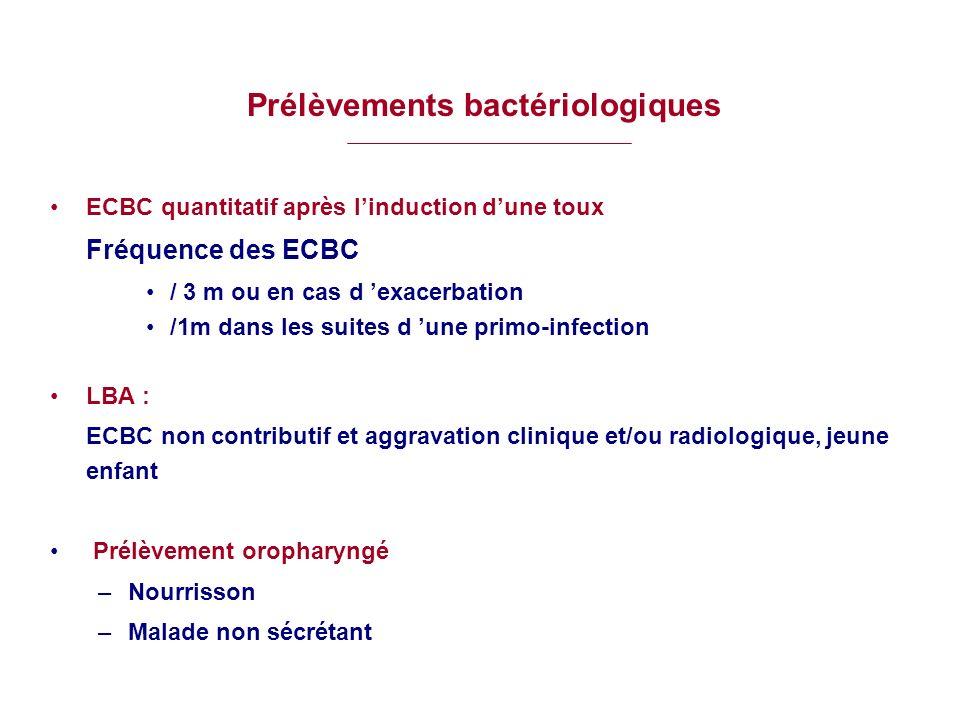 Prélèvements bactériologiques ECBC quantitatif après linduction dune toux Fréquence des ECBC / 3 m ou en cas d exacerbation /1m dans les suites d une