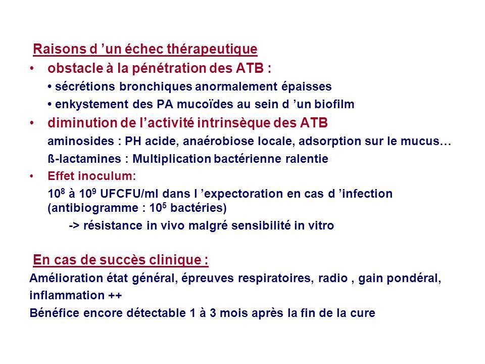 Raisons d un échec thérapeutique obstacle à la pénétration des ATB : sécrétions bronchiques anormalement épaisses enkystement des PA mucoïdes au sein