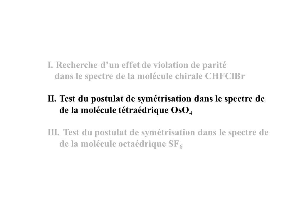 I. Recherche dun effet de violation de parité dans le spectre de la molécule chirale CHFClBr II.