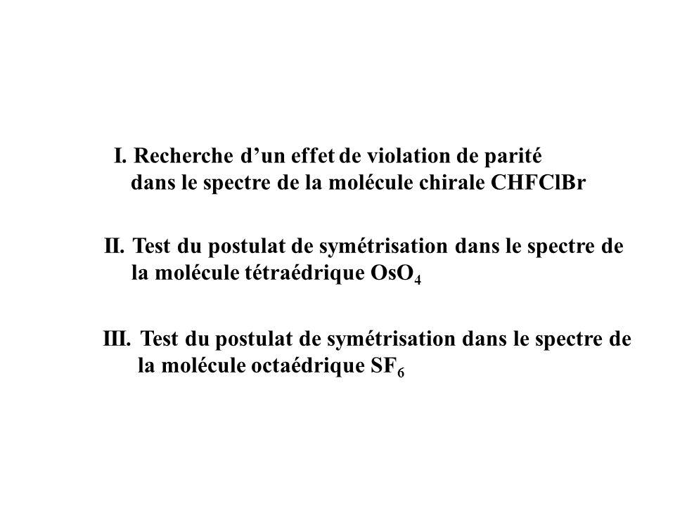 I.Recherche dun effet de violation de parité dans le spectre de la molécule chirale CHFClBr II.