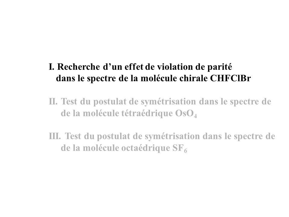 n=0 C RV =0 (+) (-) Le spectre superfin dOsO 4 RV RV Les transitions rovibrationnelles dans OsO 4 Interaction tensorielle de vibration-rotation Interaction tensorielle de vibration-rotation Interaction de Coriolis A 1 1 (-) A 1 1 (+) A 0 1 (+) A 0 1 (-) F 0 1 (-) F 1 1 (+) F 0 1 (+) F 1 1 (-) A 1 1 (-) A 1 1 (+) A 0 1 (+) A 0 1 (-) A 1 (+) A 1 (-) F 1 (-) J= J+1 J+1 J J-1 3 =0 3 =1 l3=0l3=0 l3=1l3=1 R R V V R=R=J R=R=J-1 R=R=J+1 R=J-l 3 F 1 (+) n=0 C RV =0 (+) (-) =41 =40