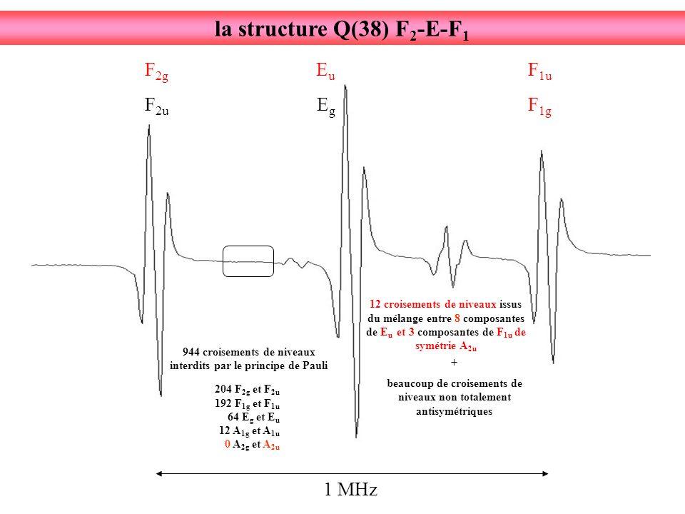 1 MHz F 2u F 2g EgEg EuEu F 1g F 1u + beaucoup de croisements de niveaux non totalement antisymétriques 12 croisements de niveaux issus du mélange entre 8 composantes de E u et 3 composantes de F 1u de symétrie A 2u 944 croisements de niveaux interdits par le principe de Pauli 204 F 2g et F 2u 192 F 1g et F 1u 64 E g et E u 12 A 1g et A 1u 0 A 2g et A 2u