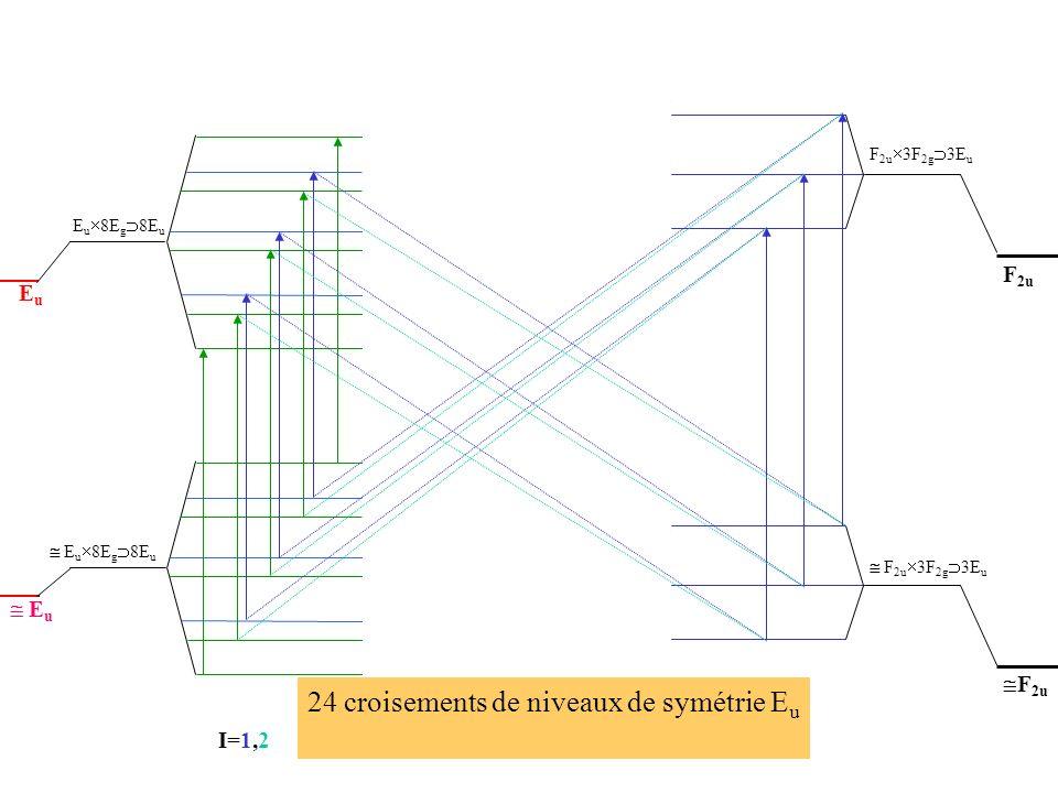 Interactions hyperfines I=0 F= J(=0) F=J-2 F=J-1 F=J F=J+2 F=J+1 I=2 I=1 F=J-2 F=J-1 F=J F=J+2 F=J+1 I=2 I=1 EuEu E u E u 8E g 8E u F=J, I=1 F=J+1, I=1 F=J-1, I=1 F=J, I=1 F=J+1, I=1 F=J-1, I=1 F 2u 3F 2g 3E u F 2u F 2u 3F 2g 3E u F 2u I=1,2 24 croisements de niveaux de symétrie E u