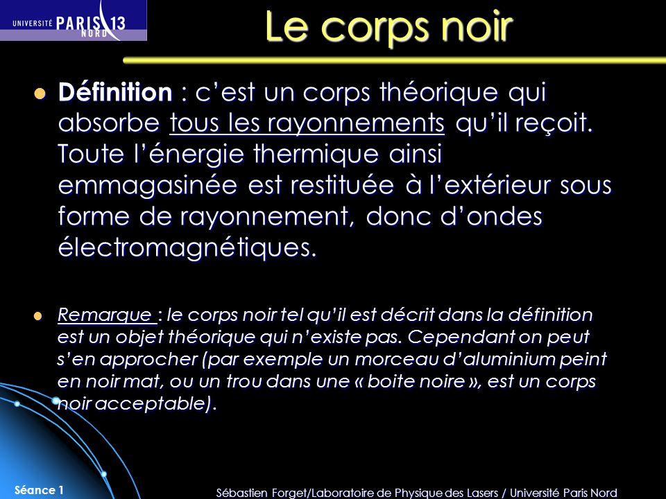 Sébastien Forget/Laboratoire de Physique des Lasers / Université Paris Nord Séance 1 Le corps noir Définition : cest un corps théorique qui absorbe to