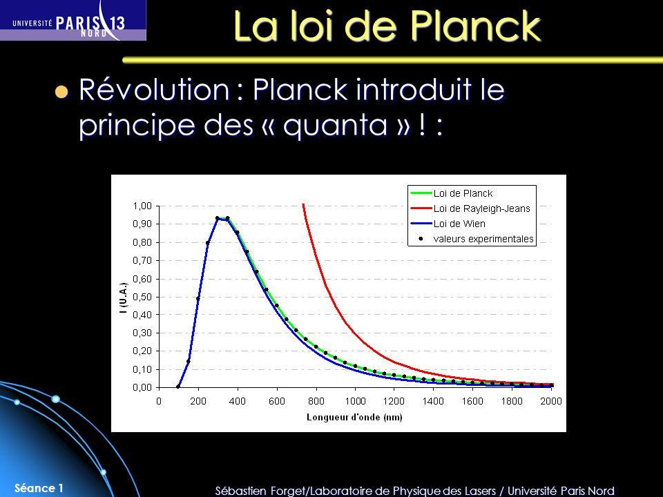 Sébastien Forget/Laboratoire de Physique des Lasers / Université Paris Nord Séance 1 La loi de Planck Révolution : Planck introduit le principe des «