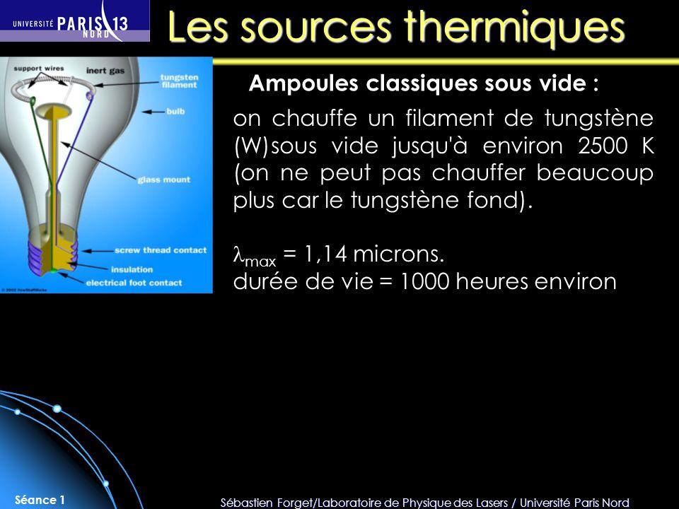 Sébastien Forget/Laboratoire de Physique des Lasers / Université Paris Nord Séance 1 Les sources thermiques Ampoules classiques sous vide : on chauffe