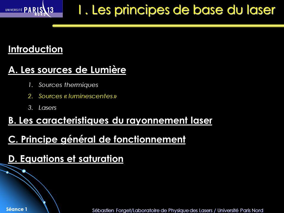 Sébastien Forget/Laboratoire de Physique des Lasers / Université Paris Nord Séance 1 I. Les principes de base du laser A. Les sources de Lumière Intro