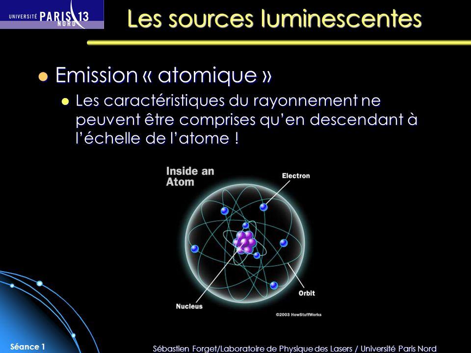 Sébastien Forget/Laboratoire de Physique des Lasers / Université Paris Nord Séance 1 Emission « atomique » Emission « atomique » Les caractéristiques