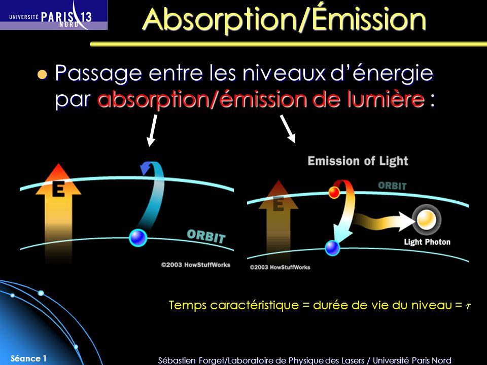 Sébastien Forget/Laboratoire de Physique des Lasers / Université Paris Nord Séance 1 Absorption/Émission Passage entre les niveaux dénergie par absorp