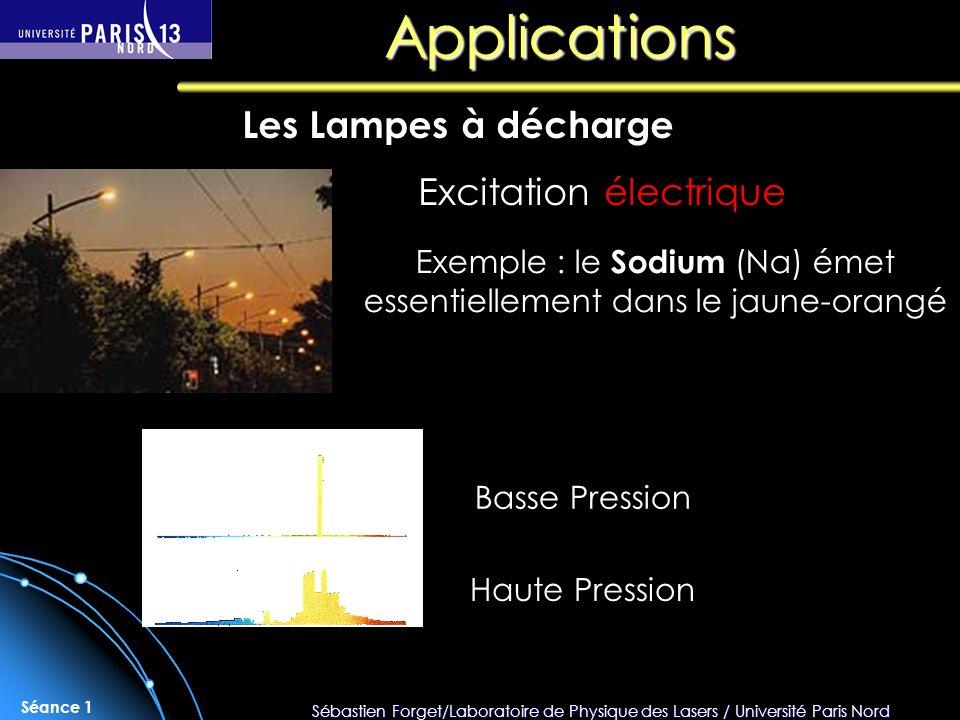 Sébastien Forget/Laboratoire de Physique des Lasers / Université Paris Nord Séance 1 Applications Les Lampes à décharge Excitation électrique Exemple