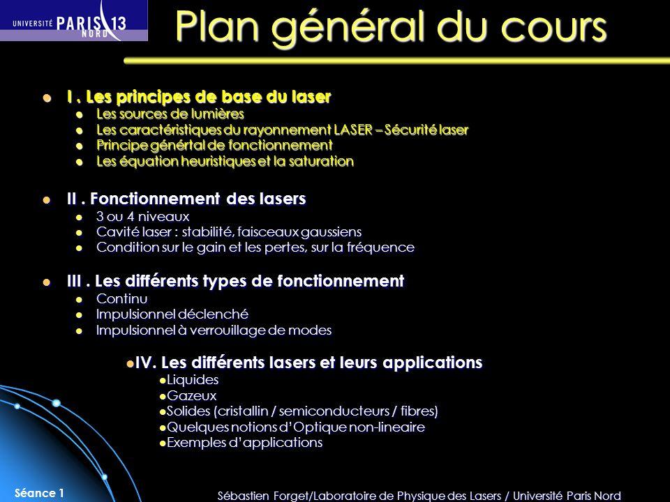 Sébastien Forget/Laboratoire de Physique des Lasers / Université Paris Nord Séance 1 Plan général du cours I. Les principes de base du laser I. Les pr