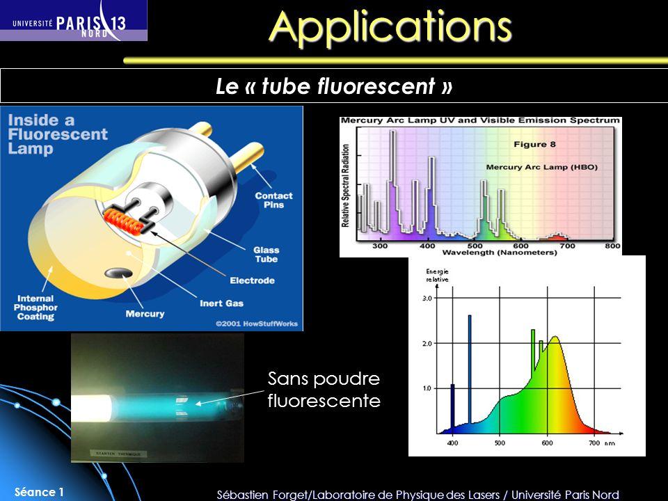 Sébastien Forget/Laboratoire de Physique des Lasers / Université Paris Nord Séance 1 Applications Le « tube fluorescent » Sans poudre fluorescente