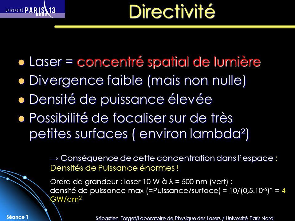 Sébastien Forget/Laboratoire de Physique des Lasers / Université Paris Nord Séance 1 Directivité Laser = concentré spatial de lumière Laser = concentr