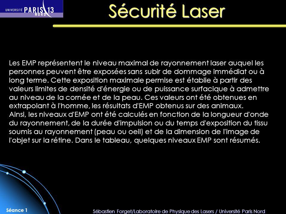 Sébastien Forget/Laboratoire de Physique des Lasers / Université Paris Nord Séance 1 Les EMP représentent le niveau maximal de rayonnement laser auque
