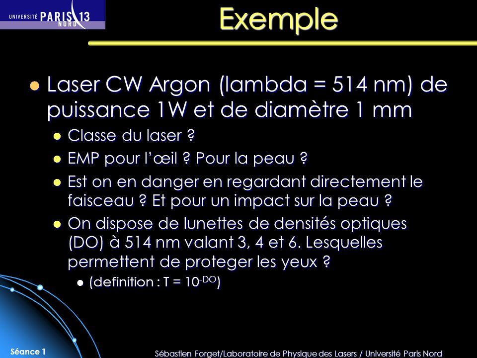 Sébastien Forget/Laboratoire de Physique des Lasers / Université Paris Nord Séance 1 Exemple Laser CW Argon (lambda = 514 nm) de puissance 1W et de di