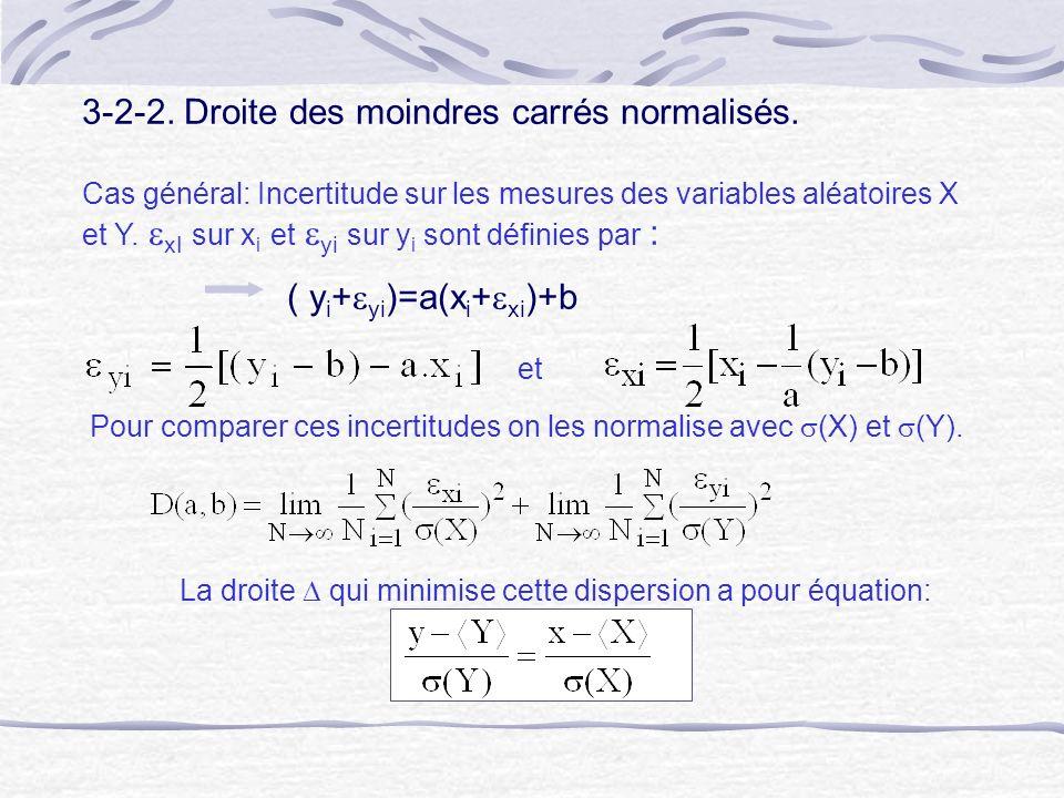 3-2-2. Droite des moindres carrés normalisés. Cas général: Incertitude sur les mesures des variables aléatoires X et Y. xI sur x i et yi sur y i sont