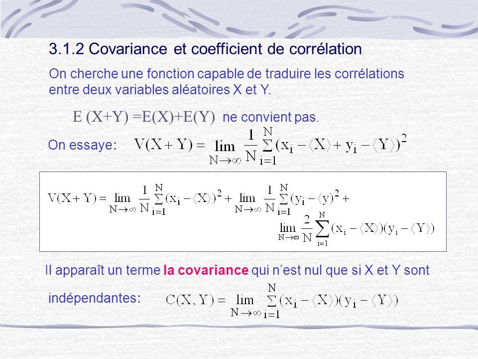 3.1.2 Covariance et coefficient de corrélation. On cherche une fonction capable de traduire les corrélations entre deux variables aléatoires X et Y. E