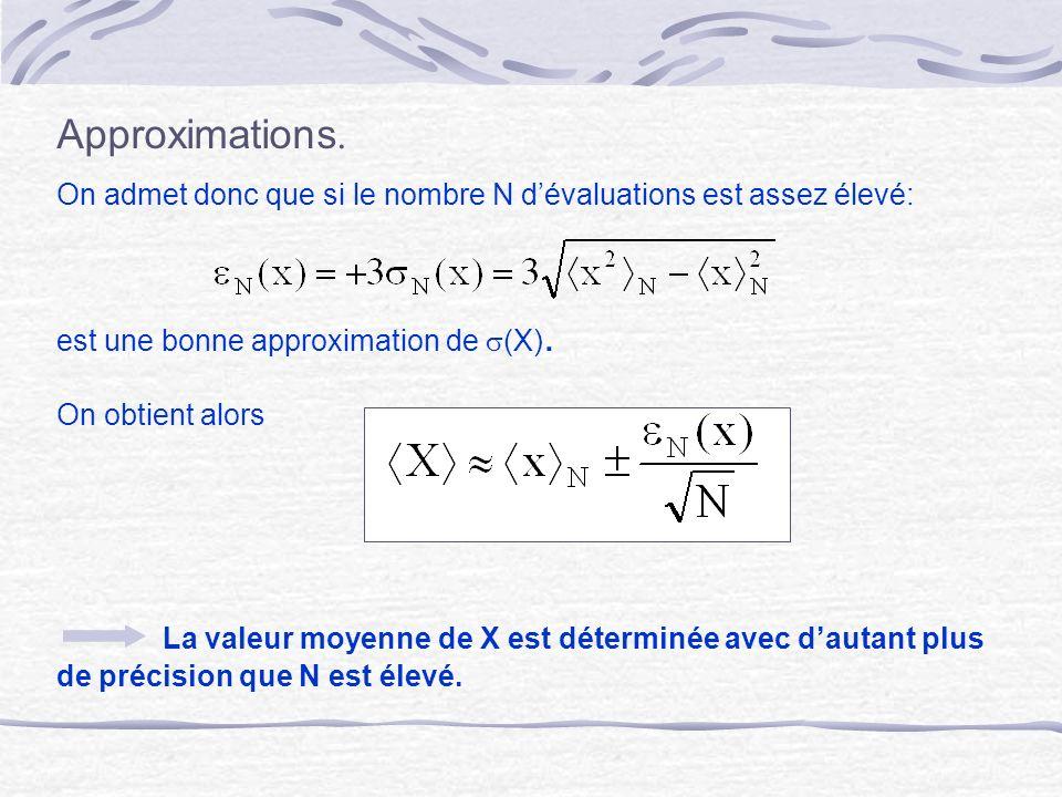 Approximations. On admet donc que si le nombre N dévaluations est assez élevé: est une bonne approximation de (X). On obtient alors La valeur moyenne