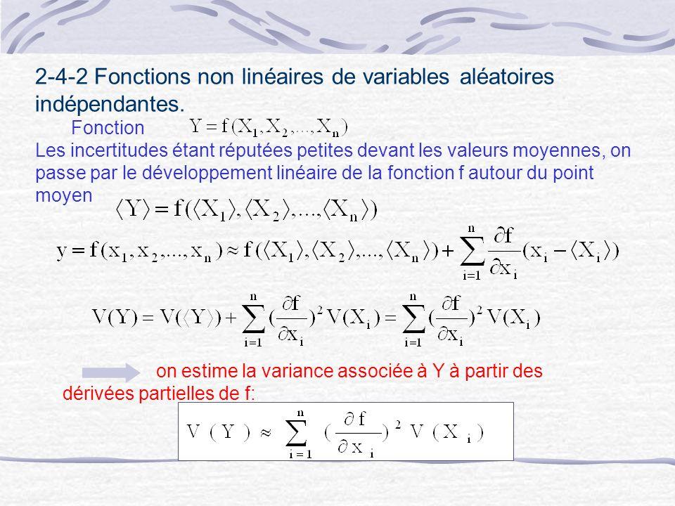 2-4-2 Fonctions non linéaires de variables aléatoires indépendantes. Fonction Les incertitudes étant réputées petites devant les valeurs moyennes, on