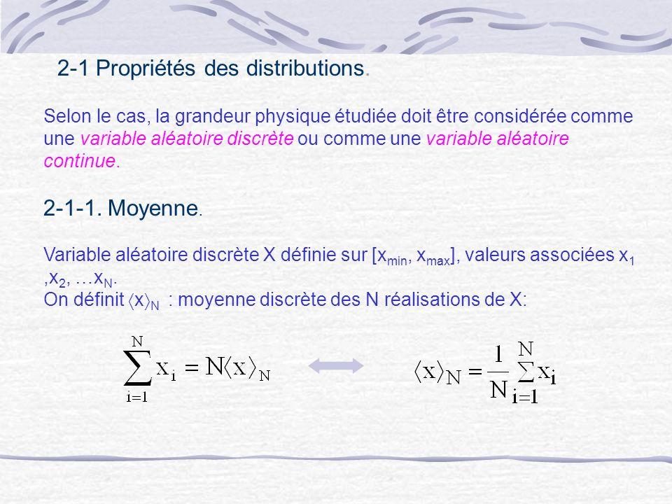 2-1 Propriétés des distributions. Selon le cas, la grandeur physique étudiée doit être considérée comme une variable aléatoire discrète ou comme une v