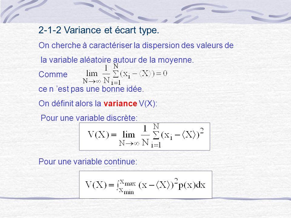 2-1-2 Variance et écart type. On cherche à caractériser la dispersion des valeurs de la variable aléatoire autour de la moyenne. Comme ce n est pas un